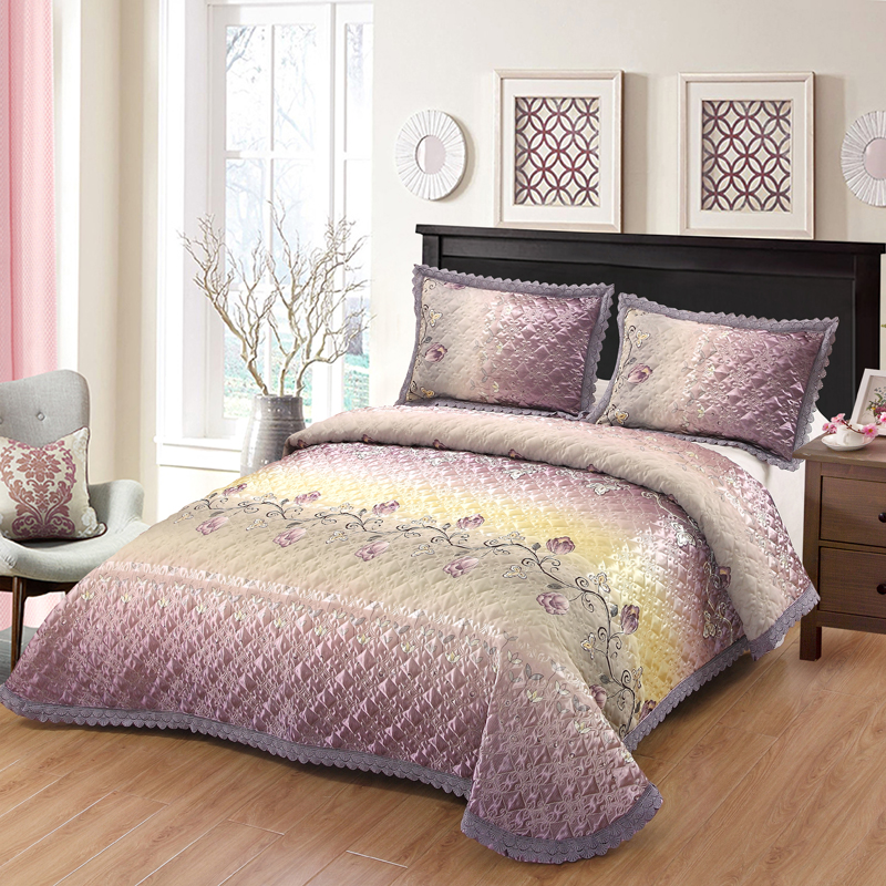 New 3pcs Silk Cotton Printed Lace Bed Spread Quilted