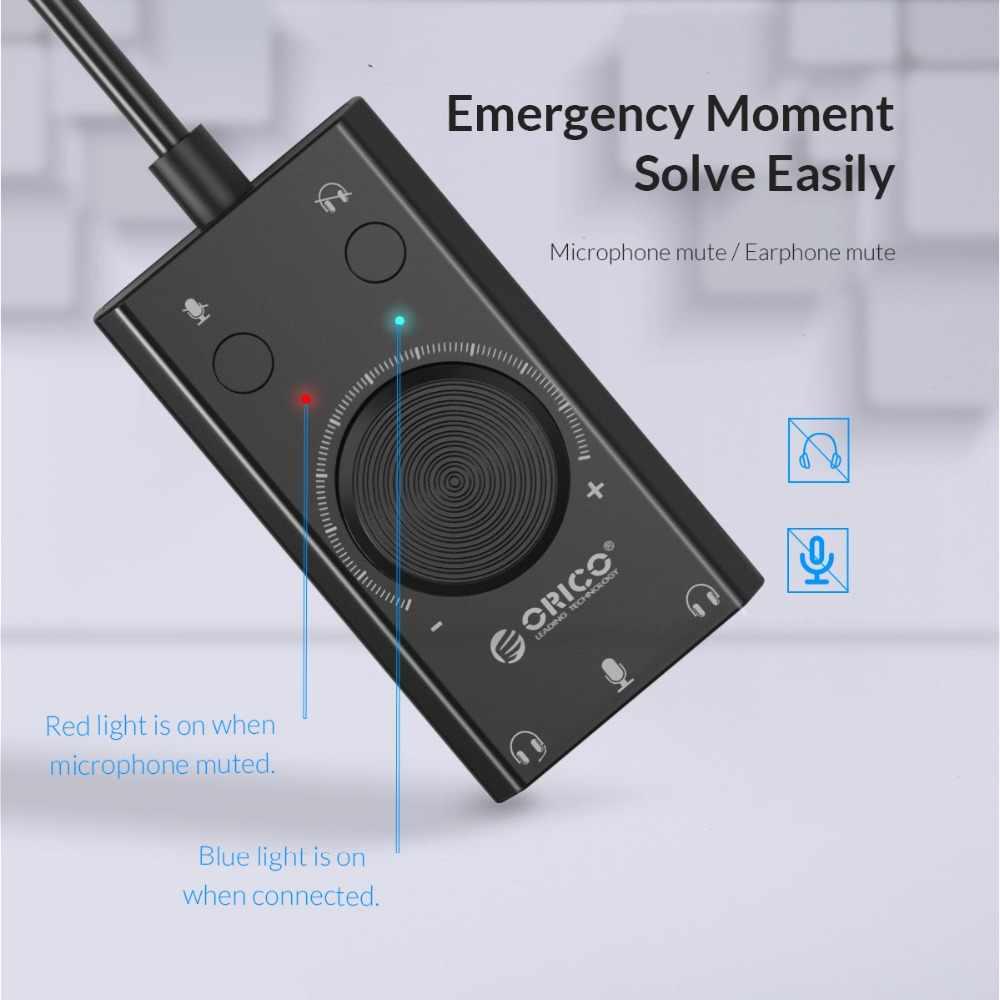 ORICO Внешняя USB Звуковая карта стерео USB звуковая карта Микрофон динамик аудио разъем 3,5 мм Кабель-адаптер для ПК ноутбук бесплатный привод
