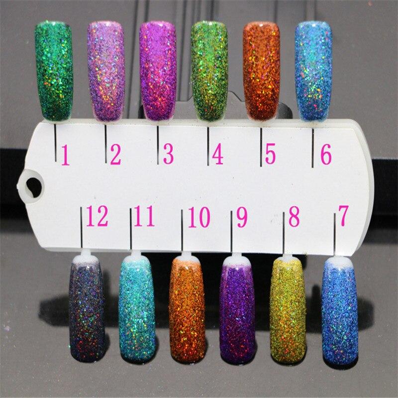 1box Nail Colorful Color Flashing Powder 12 Color Laser Jincong Powder Nail Glitter Nail Polish Glitter Flash Powder