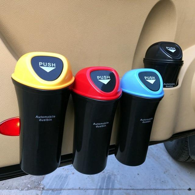 Car Trash Can Organizer Garbage Holder Automobiles Storage Bag Accessories Auto Door Seat Back Visor Trash Bin Paper Dustbin