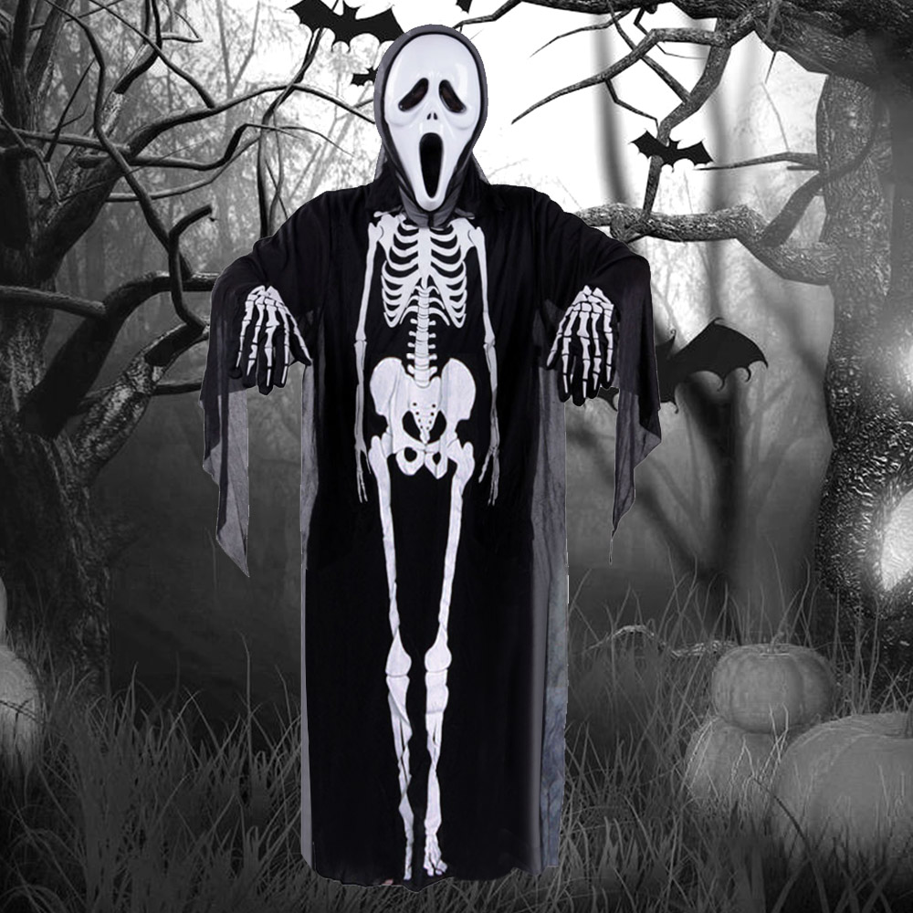 Halloween Costume Decoration Props Dress Kids Skeleton Ghost Clothes Screaming Mask Cloth Gloves Masquerade Cosplay