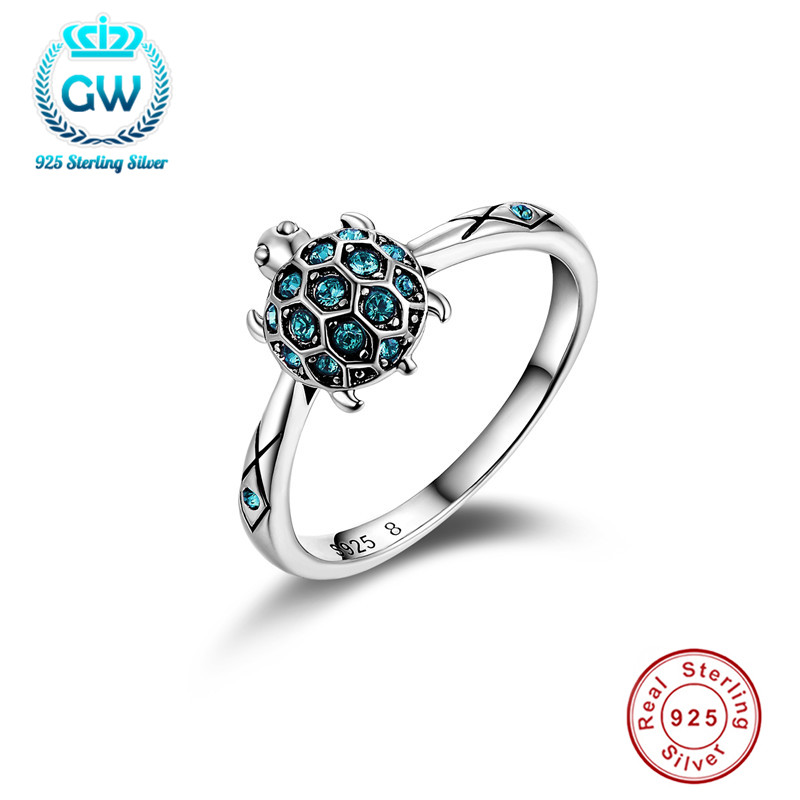 925 sterling silver Dropshipping Lovely Turtle Sky Blue Clear Crystal Ring For women's jewelry best gift for 11.11