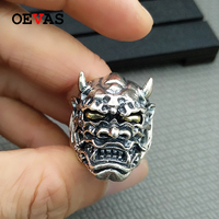 Real S925 silver Devil Mask Ring mens punk style Sterling silver Jewelry Hip hop party big and heavy ring about 22.6g bague gift