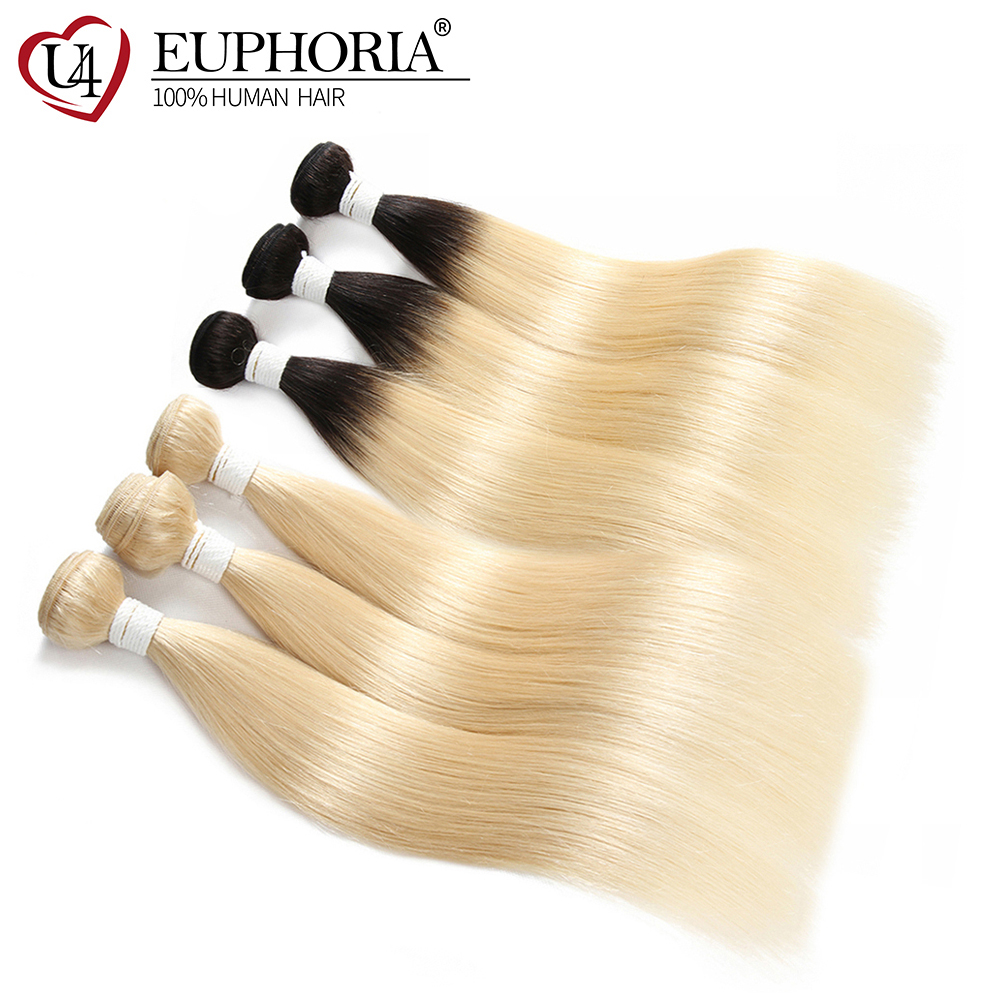 Brazilian 100% Remy Hair Weave Bundles EUPHORIA Ombre Black Honey Blonde 613 Color Straight Human Ha