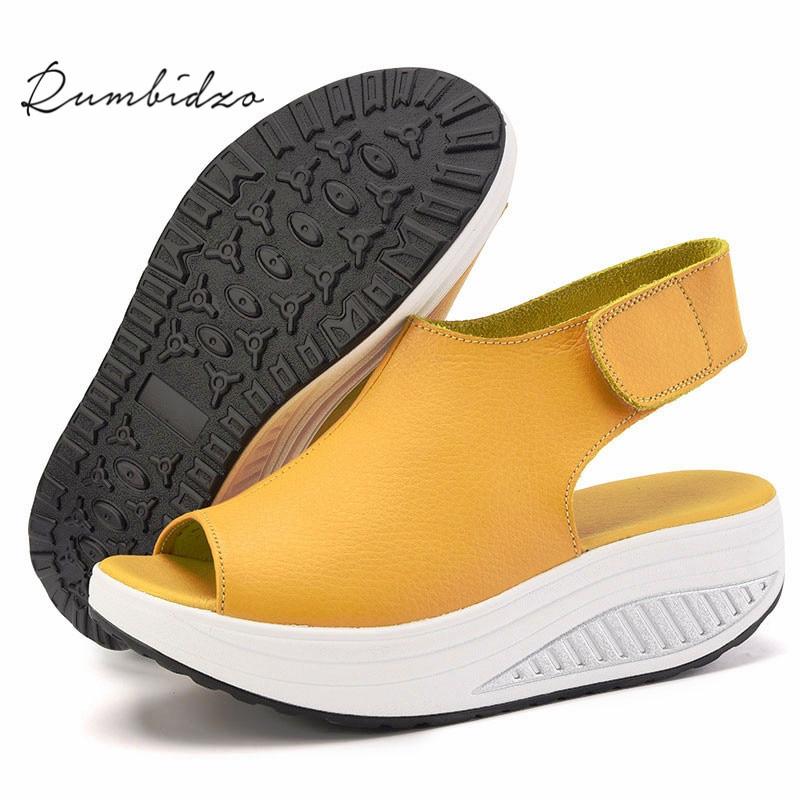 Rumbidzo 2017 Summer Women Sandals Peep Toe Swing Shoes Ladies Platform Wedges Sandals Woman Sandalias Zapatos size35- 43 women shoes summer women sandals 2017 peep toe gold silver roman sandals shoes platform brand creepers woman sandalias size 43