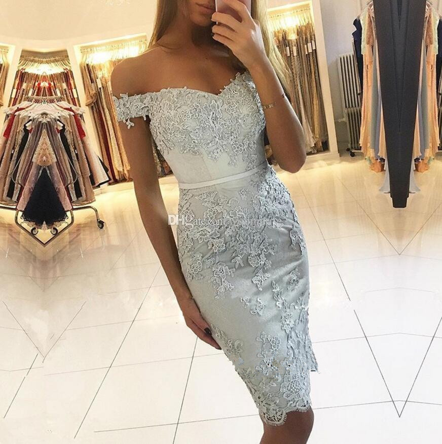 Silver 2019   Cocktail     Dresses   Sheath Off The Shoulder Short Mini Lace Beaded Elegant Party Homecoming   Dresses