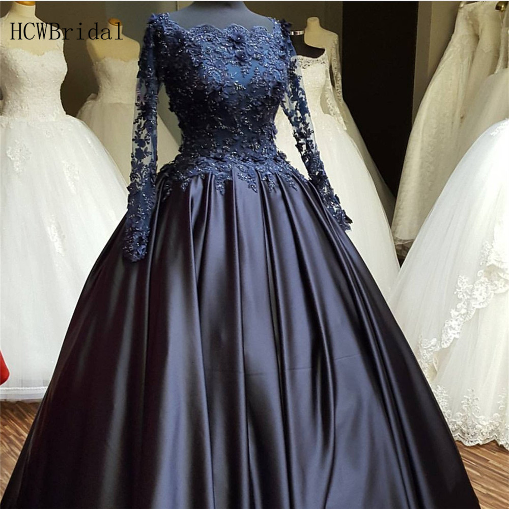 Custom Made Long Sleeve   Evening     Dress   Exquisite Beaded Appliques Satin Ball Gown Women Formal   Dresses   2019 High Quality Gowns