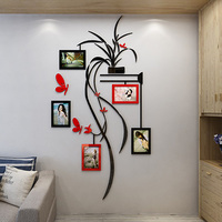 Photo frame orchid Acrylic 3d wall stickers TV background wall DIY Art decor Child room cartoon butterfly wall stickers