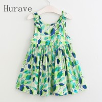 NEW Arrival Girls Dress Kids Clothes Children Dress Sleeveless Leaf Dress Printed Fashion Girls Summer Clothing