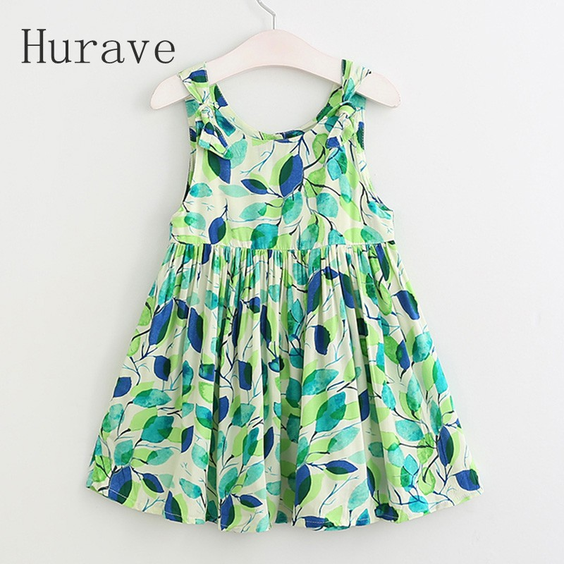 Hurave NEW arrival girls dress kids clothes children dress sleeveless leaf dress printed fashion girls summer clothing 17L1 new arrival fashion summer girls kids sleeveless flower dress elegant sweet children girls knee length ball gown dress
