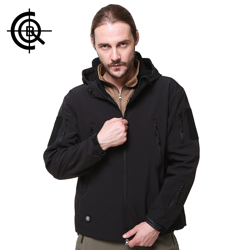 CQB Outdoor Tactical Softshell Jacket Hooded Men Windproof Waterproof Jacket Hiking Camping Fishing Clothes Big Size sy0015