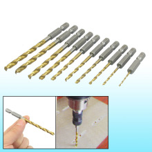 цена на Uxcell New Arrival 1.5mm to 5mm 10 in 1 Straight Shank High Speed Steel Titanium Coated Drill Bits Set Tool Power Tools