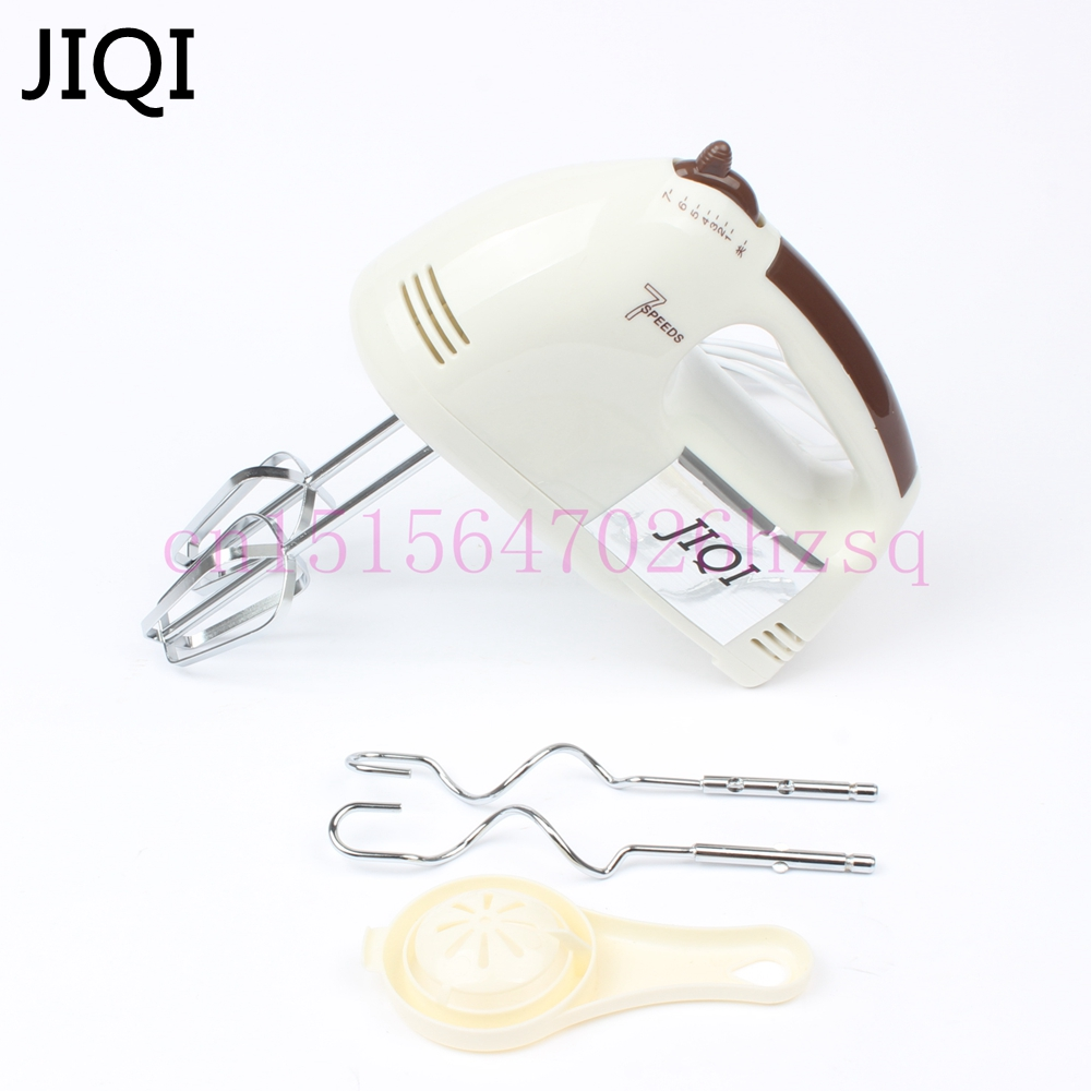 JIQI 100W Egg Beater Electric Mixer Hand Mixer Stainless Steel Egg Beater 7 Speeds Control With 2 Powder Bar EU US Plug Handheld