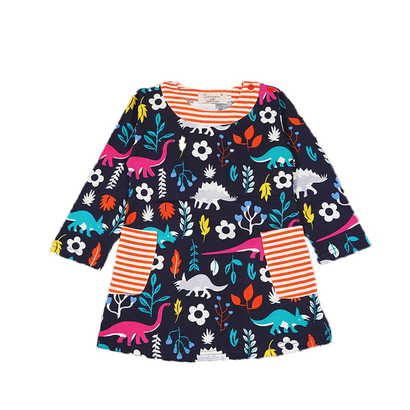 Cute Baby Girls Dress Winter Long Sleeve Dinosaur Print A line Princess Girls Party Dress Autumn Children Clothing Dresses sleeveless 2017 new autumn fall winter girls princess dress brand vest dress solid cute children dress chidlren clothing 2 8y