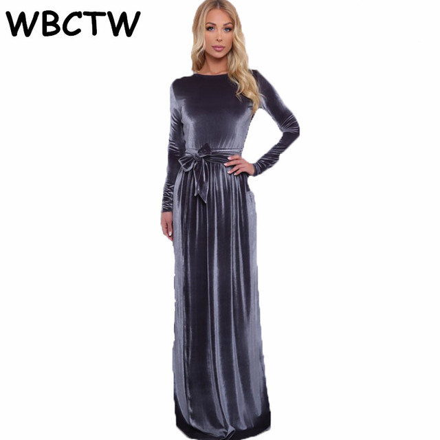 5e33e9bc34 US $45.99 |WBCTW Plus Size Women Clothing Elastic High Waist Long Sleeve  Dress 2018 Winter Autumn Maxi Warm Elegant Woman Velvet Dress-in Dresses  from ...