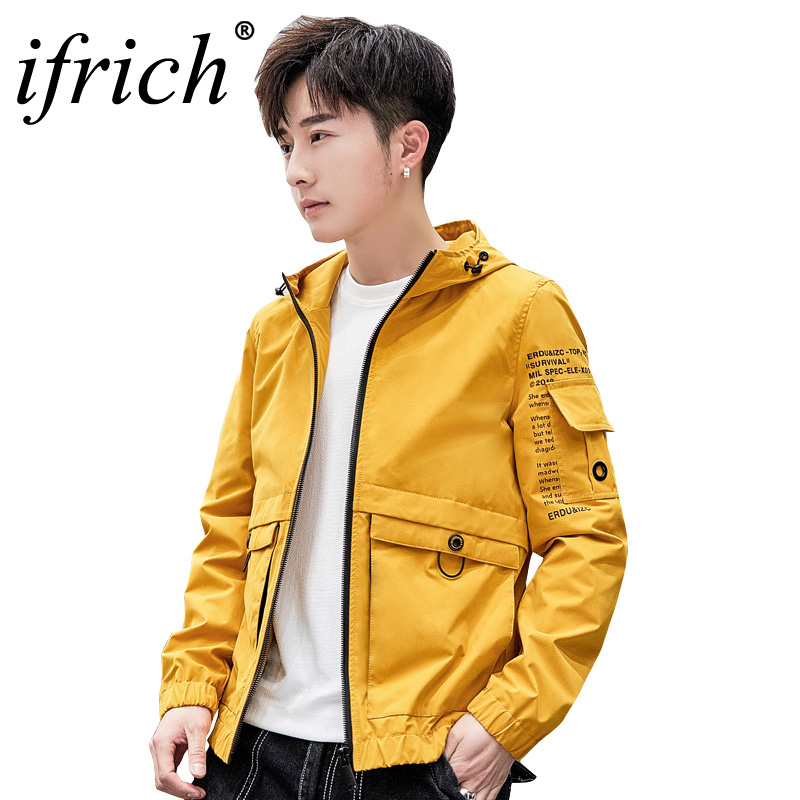 c6422a8b ... Уличная верхняя одежда · IFRICH куртка для мужчин ветровка 2019  демисезонный модные с капюшоном повседневные куртки мужской пальто хип хоп