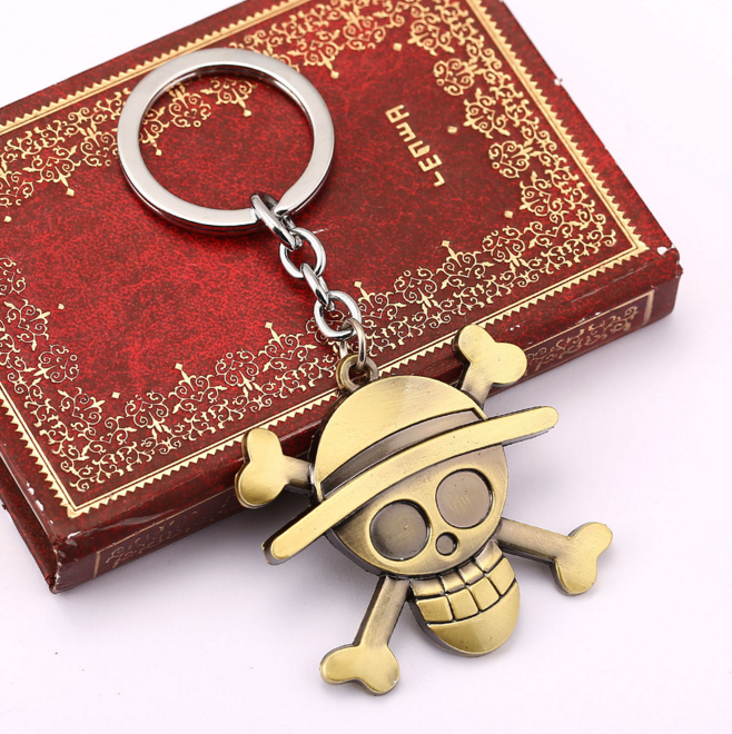 1 Pcs New Anime One Piece Luffy Straw Hat Copper Key Ring Tone Zinc Alloy Keychains Kids Toys Pendants mini portable manual juicer fruit citrus orange juice lemon mixer squeezer watermelon lime juice ginger press hand cooking tool