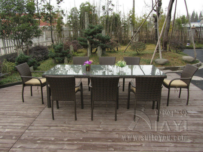 9 pcs Dark Brown Rattan Garden Dining Sets With Table And 8pcs Arms Chair transport by sea the dark garden