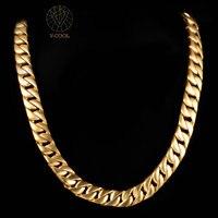 VCOOL Cuban Gold Chains 15mm Mens Chain Necklace 60cm Hiphop Vintage Long Necklace Wholesale Gold Color
