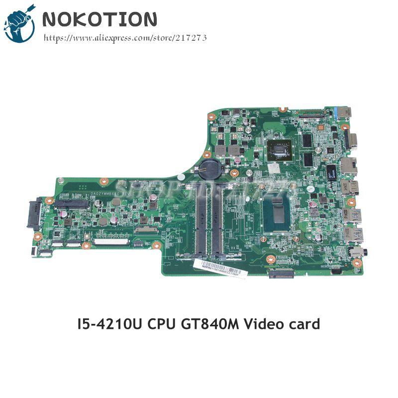 NOKOTION For Acer aspire E5-771 E5-771G Laptop Motherboard NBMNV11001 DA0ZYWMB6E0 I5-4210U CPU DDR3L GT840M Video Card