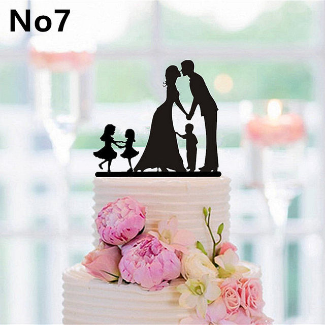 Online Shop New Family Style Cake Topper Family Silhouette Wedding ...