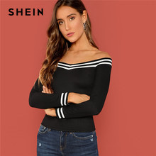 891c52a2ac4 SHEIN Black Going Out Striped Bardot Neck Rib-Knit Off the Shoulder Slim Fit  Pullovers Tee Autumn Party Women Tshirt And Top