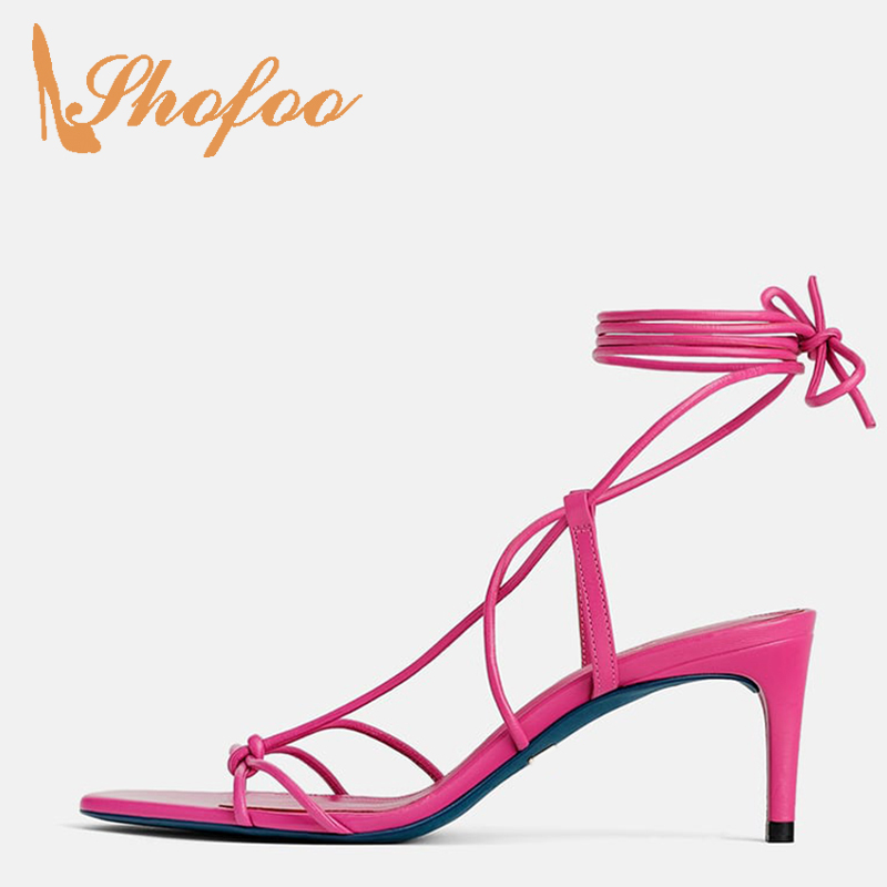 Red Ankle Strap High Stilettos Sandals Woman Thin Heels Narrow Band Large Size 11 15 Lace Up For Ladies Summer Shoes Dress Party