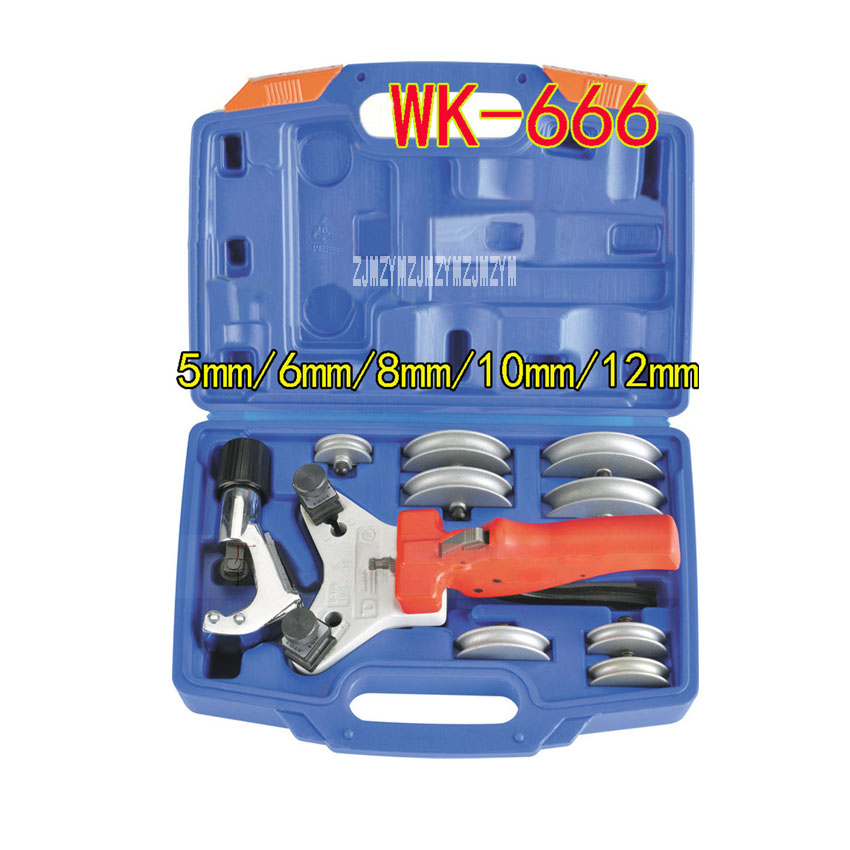 New WK-666 Combination Bend Set 90 Degree Copper Pipe Bends Air Conditioning Repair Bend Tool,5mm/6mm/6.35mm/8mm/10mm/12mm/12.7m 46pcs socket set 1 4 drive ratchet wrench spanner multifunctional combination household tool kit car repair tools set