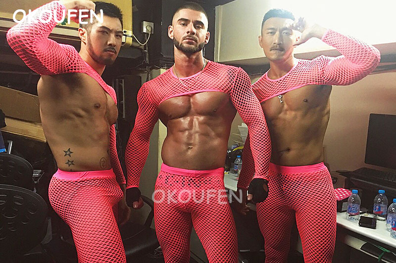 Sexy Hollow Perspective Fluorescent Pink Half Mesh party costume Nightclub bar male Wear stage show dance outfit