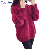 Winter Thick Sweater Female Loose Turtleneck Pullover Tops Warm Casual Solid Elegant All Match Sweaters Slim