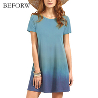 BEFORW 2017 Summer Refreshing Casual Style Dress Gradient Color Have A Personality Mini Dresses Loose Cute