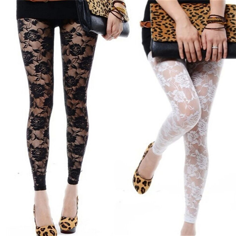 Pure Black White See Through 2017 Fitness   Leggings   Transparent Sexy   Leggings   For Women Sexiest Lace Floral   Leggings   One Size
