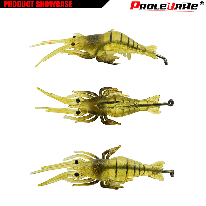 1Pcs Soft Silicone Simulation Fishing Lure Shrimp Prawn Bait Artificial Bait With Swivel Yellow Fishy Smell Single Hook 4cm 1.3g lifelike shrimp style soft pvc fishing baits w hook yellow size l 3 pack