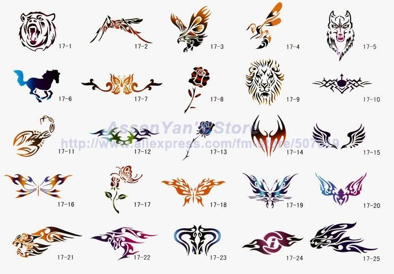 temporary airbrush tattoo stencils book template booklet 17 50 designs reuseable in tattoo. Black Bedroom Furniture Sets. Home Design Ideas