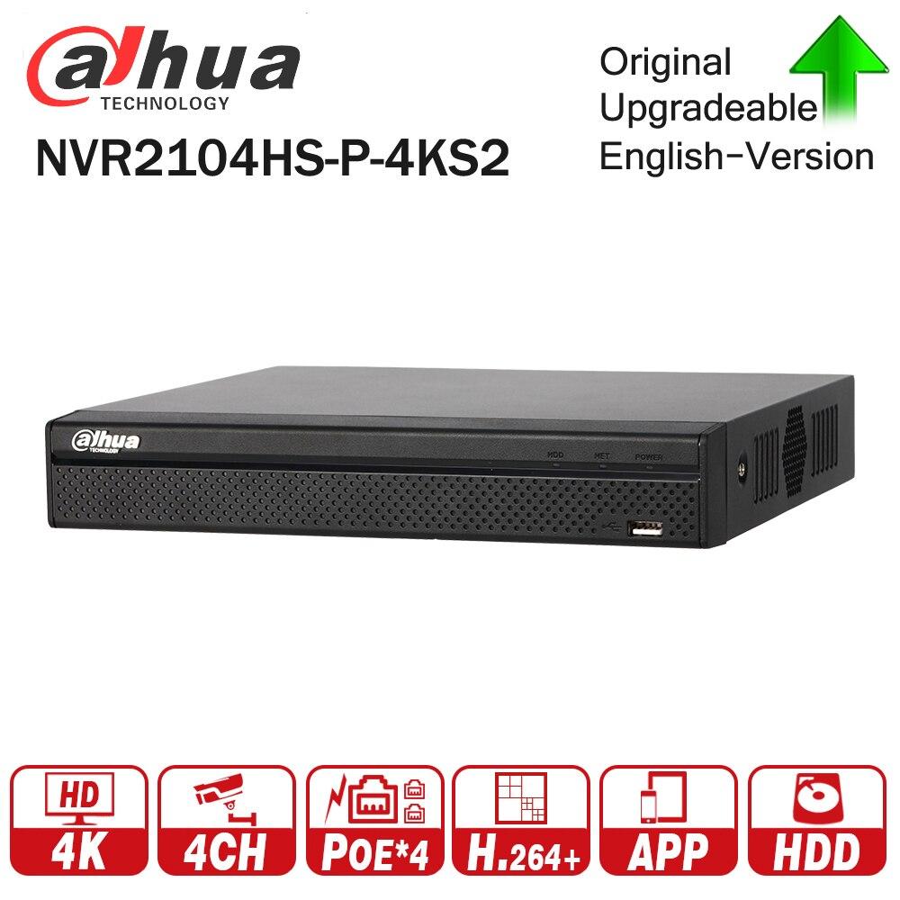Dahua оригинальный NVR2104HS P 4KS2 4 Компактный 1U 4PoE Lite 4 К H.265 сети видео Регистраторы NVR 8MP запись для IP Камера системы видеонаблюдения