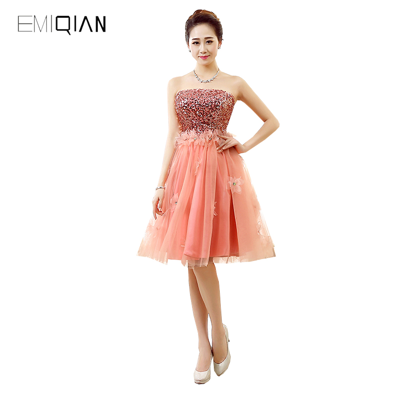 Original Design A Line Strapless Sequined Orange Tulle Flowers Cocktail Party Dresses
