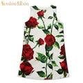 Девочка платье роуз цветочный узор платье-линии платье принцессы девушки европейский стиль детское платье марка дизайнер детской одежды 2-10Y
