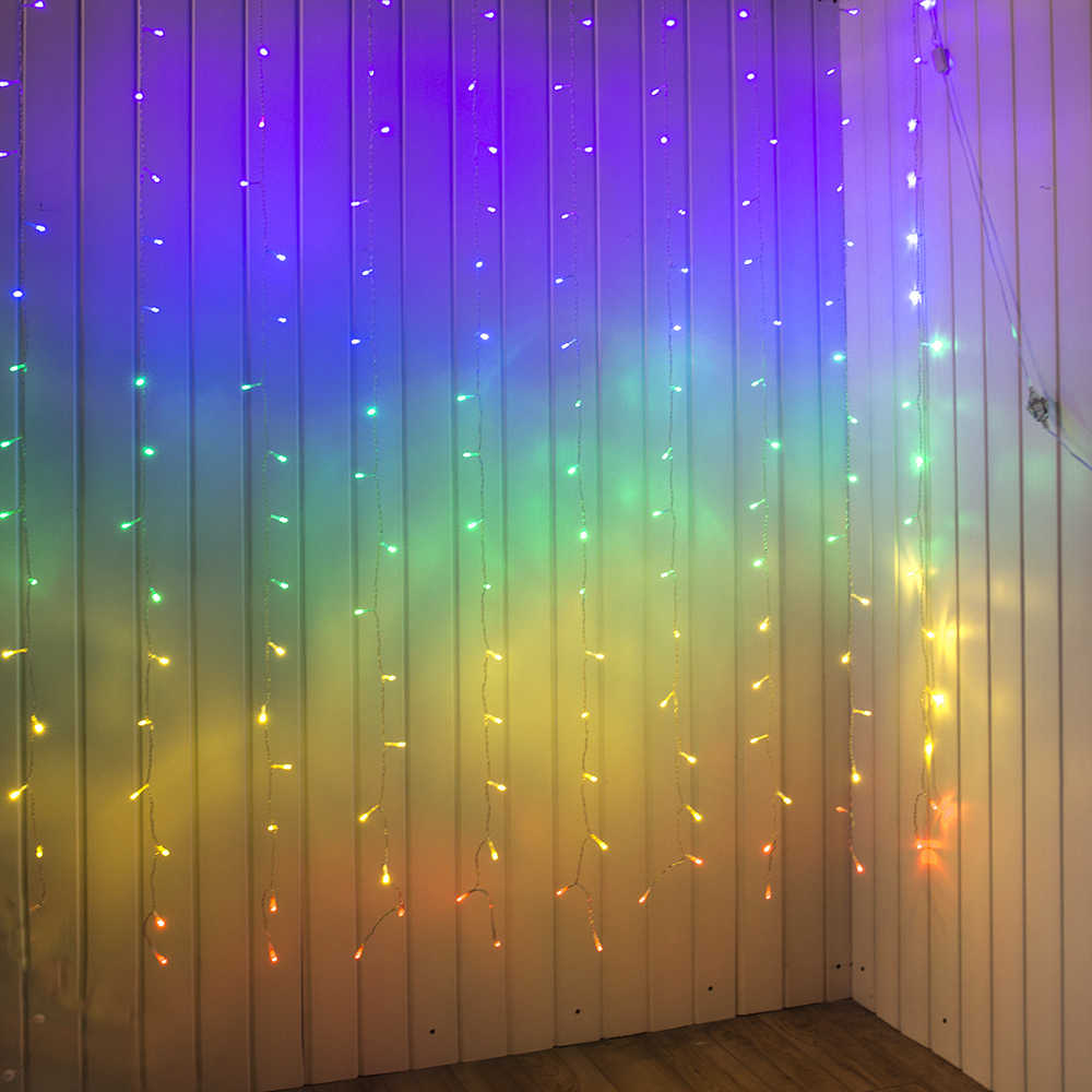 Connect 2m Rainbow Led Curtain Icicle String Lights Fairy Christmas Lamps Xmas
