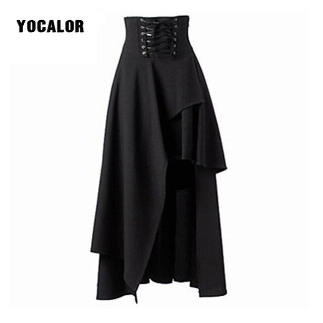 Steampunk Skirts Womens Bandage Black Skirts Basic Vintage High ...
