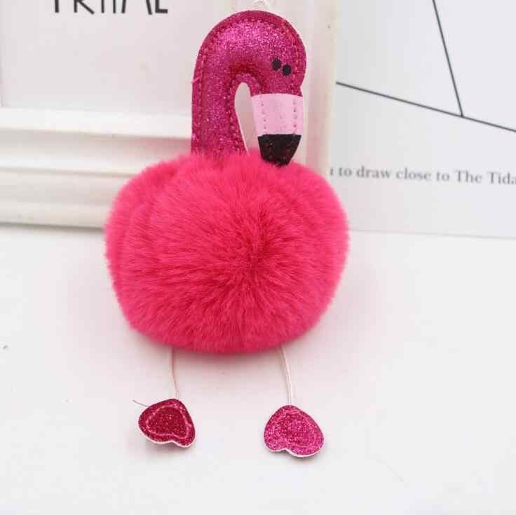 1 pc Pompom Flamingo Dos Desenhos Animados Fluffy Plush Keychain Bolsa Chaveiro para As Mulheres Chave Do Carro Fivela Chaveiro Jóias melhor presente 4 cores