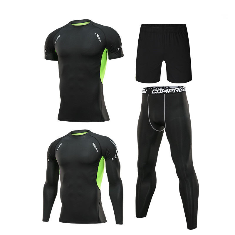 running - 4pcs / set Men's Tracksuit Sport Suit Gym Fitness Compression Clothing Running Jogging Sport Wear Exercise Workout Tights