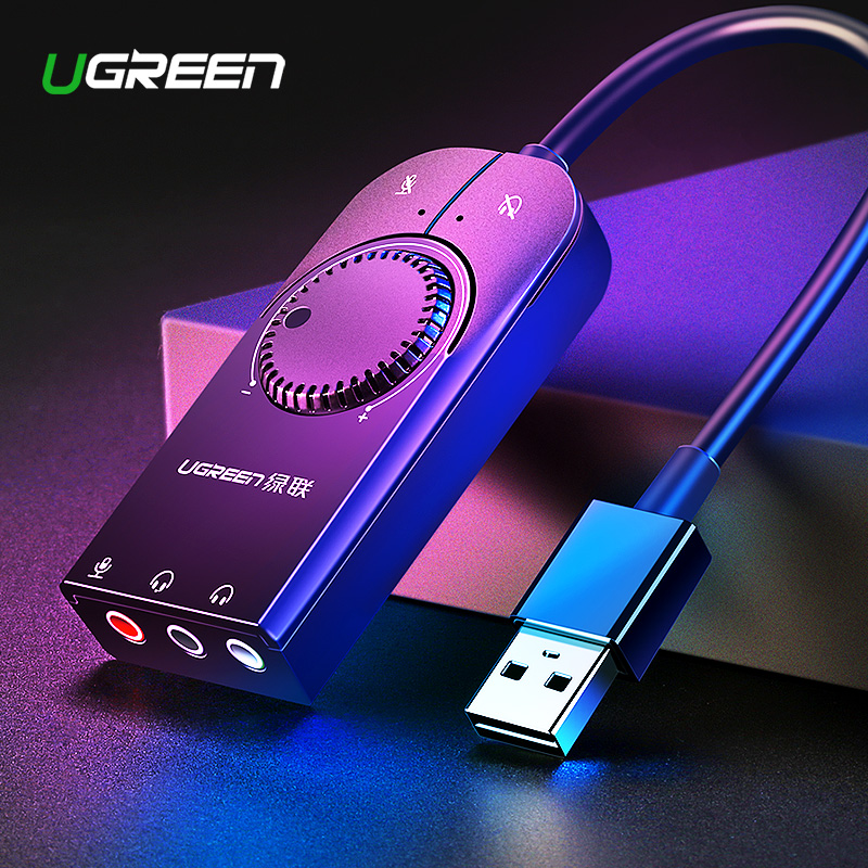 Ugreen Sound Card USB Audio Interface External 3.5mm Microphone Audio Adapter Soundcard for Laptop PS4 Headset USB Sound Card Звуковая карта