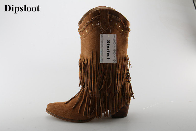 2018 Cow Girls Cool Tassel Mid-calf Boots Female Pointed Toe Slip-on Short Boots Pointed Toe Suede Leather Chunky Heels Shoes hot selling chic stylish black grey suede leather patchwork boots mid calf spike heels middle fringe boots side tassel boots