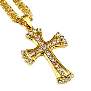 New Trendy Simple Titanium Large Jesus Gold Cross Pendant Necklace Men Hip Hop Crucifix Christian Male Jewelry crucifixo pingente de ouro masculino