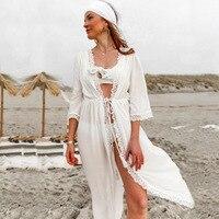 Melflow Summer Chiffon Beach Dress Women White Hollow Out Swimwear Bikini Cover Ups Bathing Cover Up Sexy Split Swimsuit Tunic