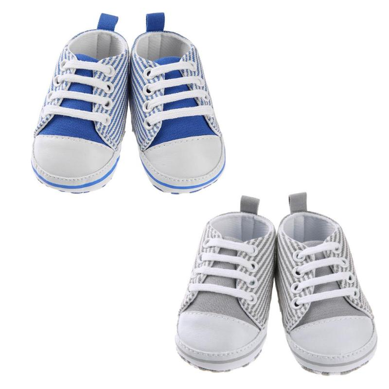 Summer New Canvas Baby Shoes Newborn Boys Girls First Walkers Infant Todder Soft Stripe Sports Baby Shoes First Walkers 0-18M