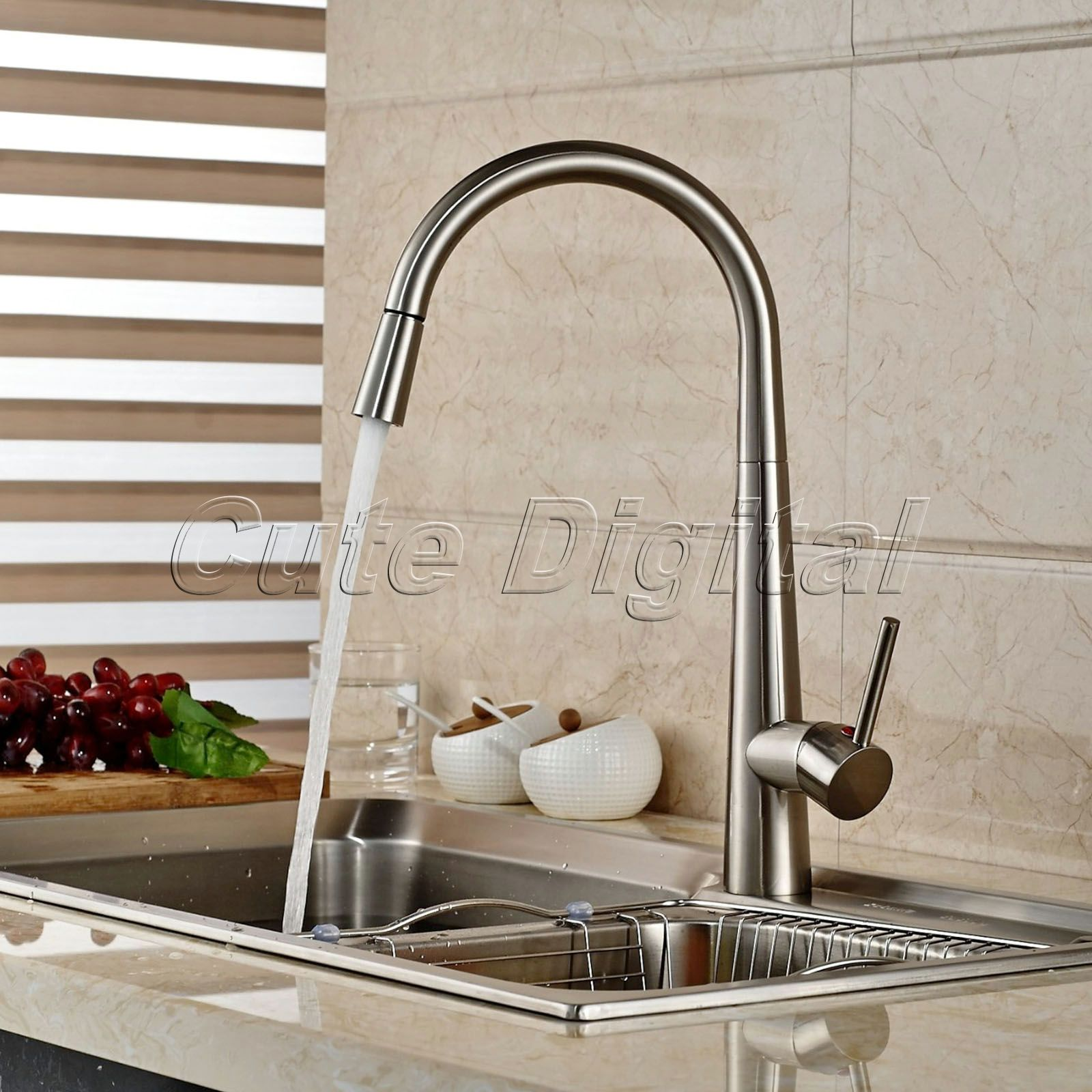 aliexpress com buy brass kitchen faucet swivel spout brushed aliexpress com buy brass kitchen faucet swivel spout brushed nickel kitchen sink mixer tap pull out spray swivel spout vessel faucet deck mounted from