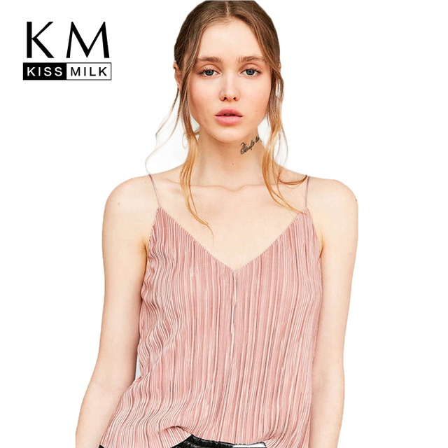 Kissmilk Plus Size 2018 Women Casual Ruched Camis Large Size Female Pink  V-Neck Tank Over Size Sexy Cold Shoulder Tops b64ffb717691
