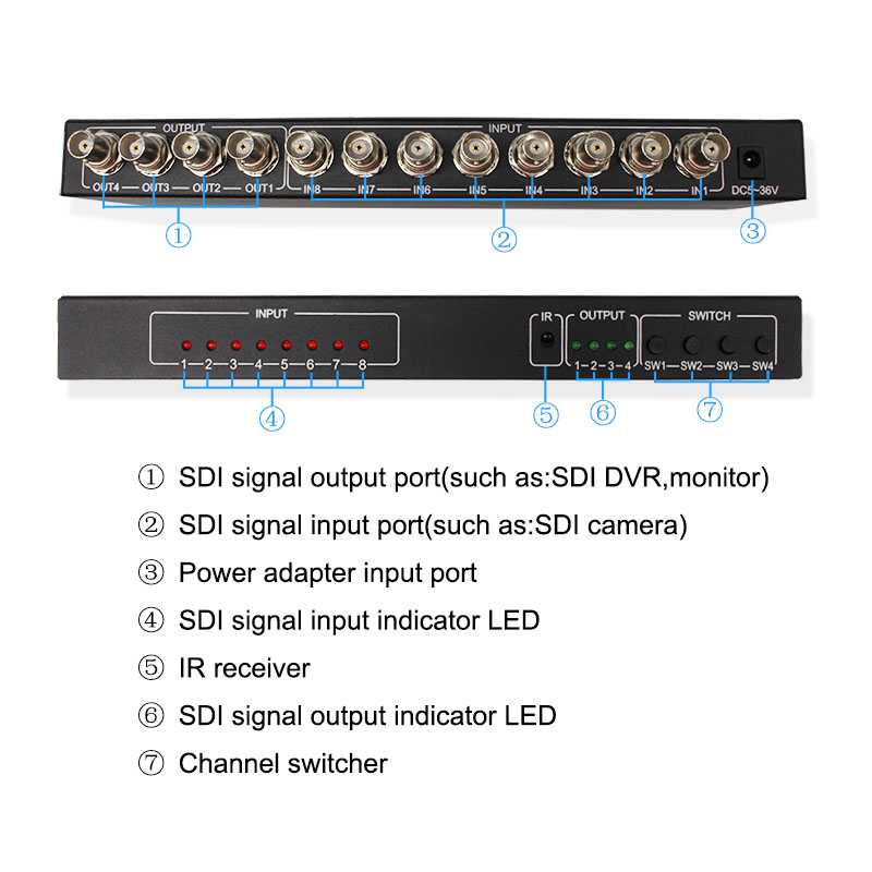 Wiistar SDI 8X4 matrix SDI 8 In 4 Out SDI 3G HD Digital Video Matrix Switcher in DVR Cards from Security Protection