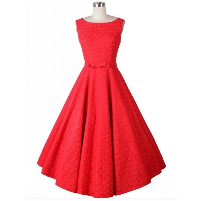 50 s Vestido de Las Mujeres vestidos de Blanco Rojo para las mujeres 2016 Elegante Longitud de La Rodilla de la vendimia Estilo Audrey Hepburn Vestido de rockabilly Pinup vestido